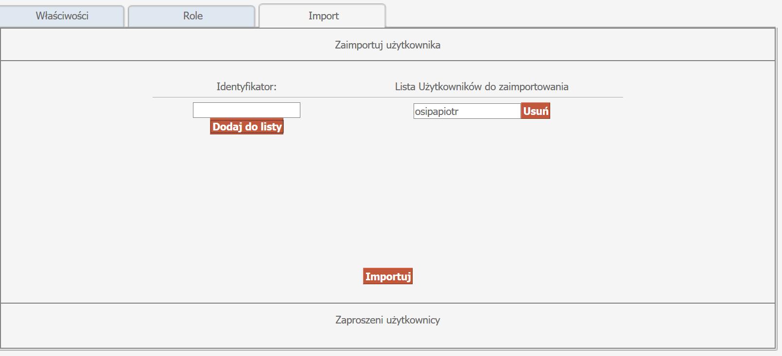 Wpisanie Identyfikatora, dodanie go do listy, a następnie wybranie opcji import